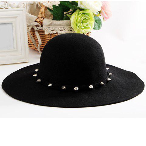 Chic Stud Decorated Hat For Women and Men - BLACK