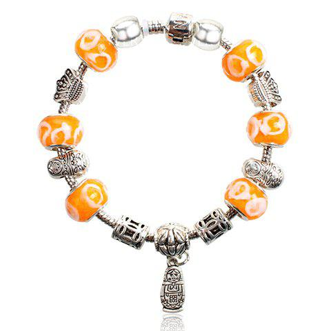 Stylish Chic Women's Colored Beads Doll Pattern Pendant Bracelet - COLORMIX