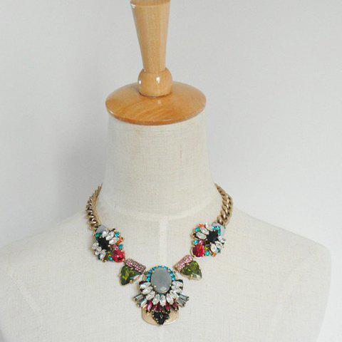 Stylish Faux Gem Decorated Women's Necklace - AS THE PICTURE