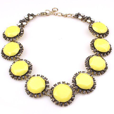 Delicate Faux Gem Round Shape Women's Necklace - YELLOW