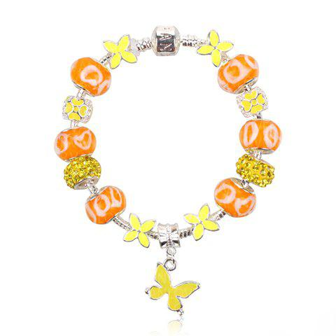 Rhinestone Butterfly Beads Charm Bracelet - COLORMIX
