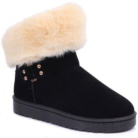 Trendy Suede and Rivets Design Women's Snow Boots - BLACK 36