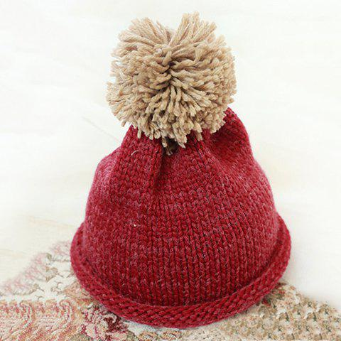 Chic Yarn Ball Solid Color Flanging Design Women's Knitted Hat - WINE RED