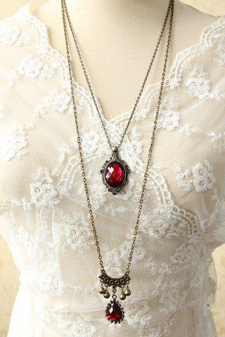 Gothic Chic Women's Beads Drop Pendant Layered Sweater Chain Necklace - COLORMIX