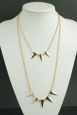 Stylish Solid Color Triangle Pendant Decorated Necklace For Women - GOLDEN
