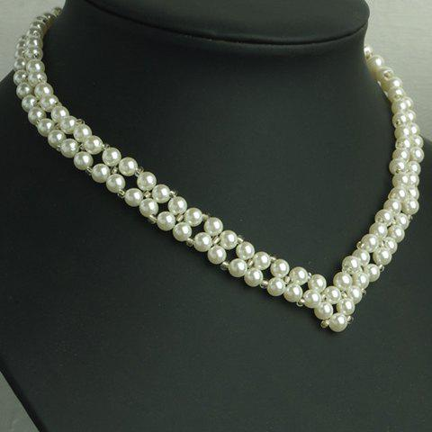 Delicate Faux Pearl Decorated V Shape Women's Necklace - AS THE PICTURE