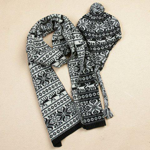 Ethnic Style Mixed Jacquard Color Block Knitted Hat and Scarf Set For Women - BLACK