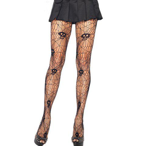 Pair of Chic Skull Pattern and Spider Web Shape Design Stockings For Women - BLACK