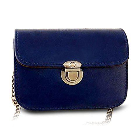 Retro Solid Color and Chain Design Crossbody Bag For Women - BLUE