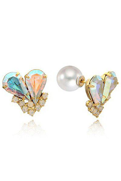 Pair of Rhinestone Heart Earrings - AS THE PICTURE