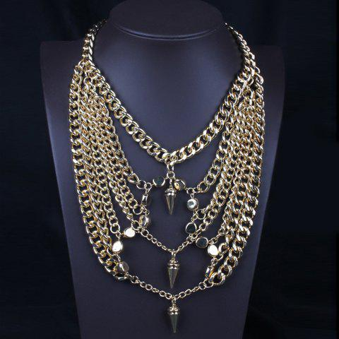 Stylish Solid Color Rivet Multi-Layered Women's Sweater Chain Necklace - GOLDEN