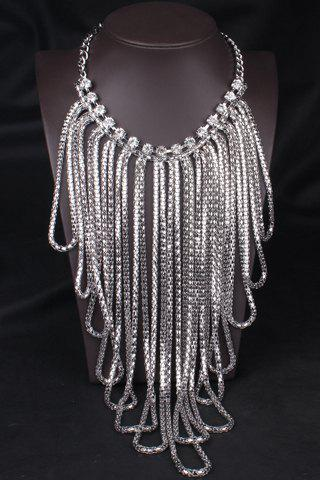 Stylish Solid Color Tassel Women's Sweater Chain Necklace - SILVER