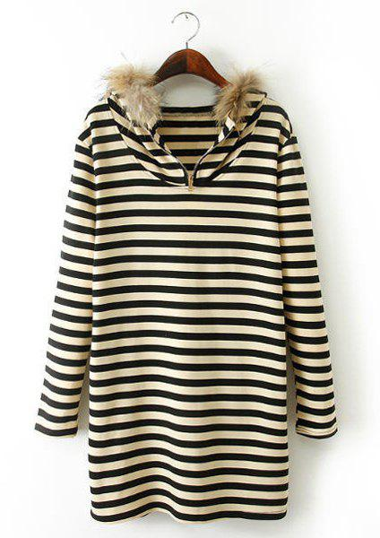 Preppy Style Striped Faux Fur Hooded Thicken Long Sleeve Dress For Women - YELLOW/BLACK L