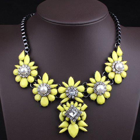 Delicate Faux Gem Decorated Pendant Women's Necklace - YELLOW