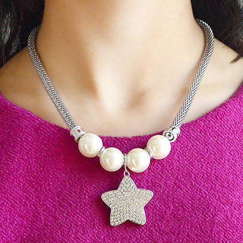 Stylish Rhinestone Star Pendant Women's Necklace - AS THE PICTURE