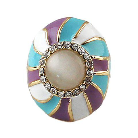 Delicate Sweet Women's Rhinestone Color Glazed Ellipse Design Ring - COLORMIX ONE SIZE(FIT SIZE XS TO M)