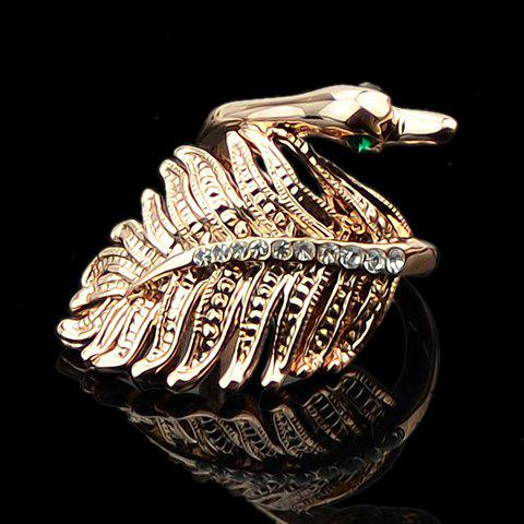 Delicate Sweet Women's Rhinestone Leaf Design Ring - ROSE GOLD ONE SIZE(FIT SIZE XS TO M)