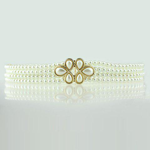 Stunning Flower Shape Buckle Faux Pearl Belt For Women - WHITE