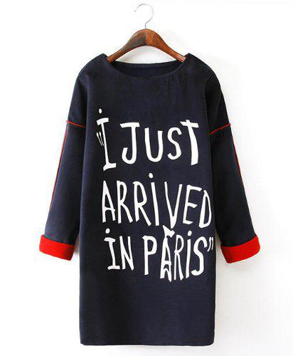 Round Neck Letter Print Splicing Casual Style Long Sleeve Dress For Women - PURPLISH BLUE M