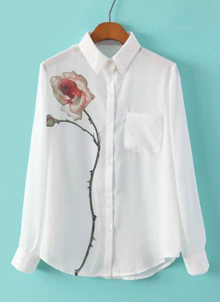 Refreshing Flower Pattern Polo Collar Chiffon Long Sleeve Blouse For Women - S WHITE
