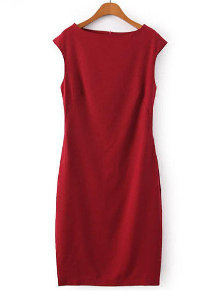 Boat Neck Solid Color Casual Style Sleeveless Dress For Women - RED S