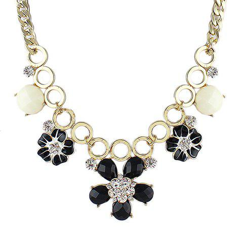 Gorgeous Faux Gem Flower Pendant Embellished Women's Necklace