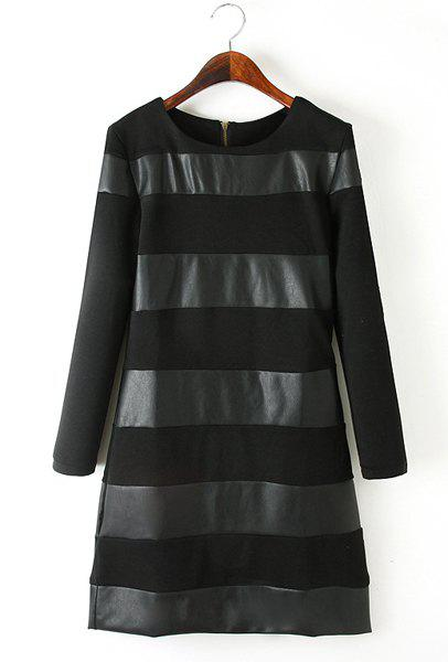 Round Neck Faux Leather Splicing Fashionable Long Sleeve Dress For Women - BLACK L