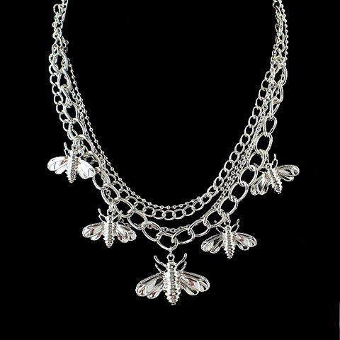 Charming Solid Color Insect Pendant Embellished Women's Necklace - SILVER