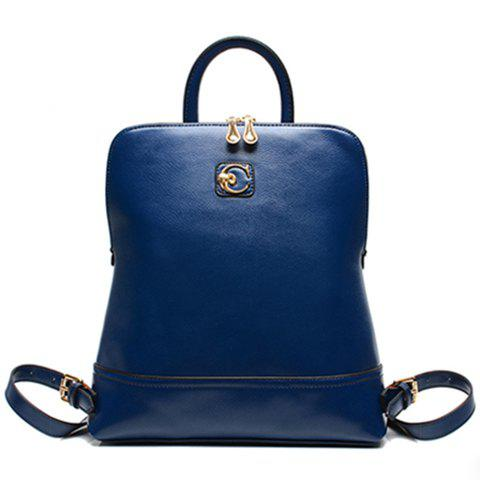 Trendy Metal and Solid Color Design Satchel For Women - BLUE
