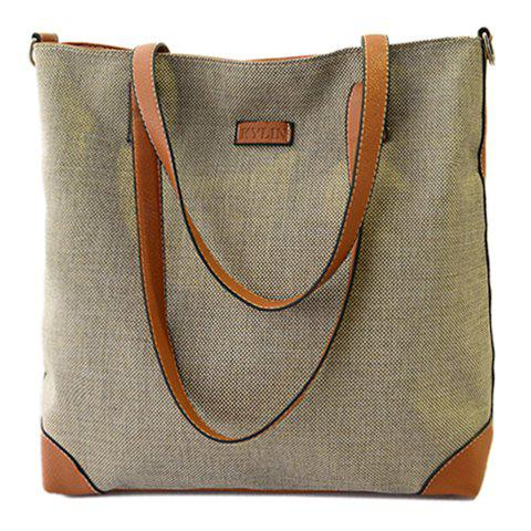 Retro Splice and Canvas Design Shoulder Bag For Women