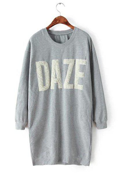 Casual Letter Pattern Jewel Neck Flocking Long Sleeve Sweatshirt For Women - GRAY L
