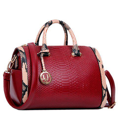 Fashionable Pendant and Snake Print Design Tote Bag For Women - RED