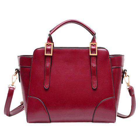 Graceful Solid Color and Buckle Design Tote Bag For Women - WINE RED