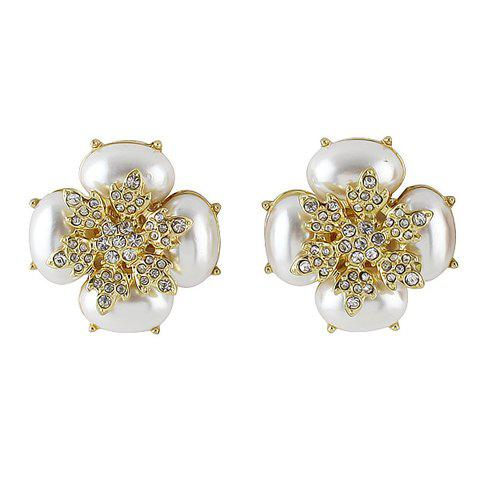 Pair of Flower Shape Stud Earrings - WHITE
