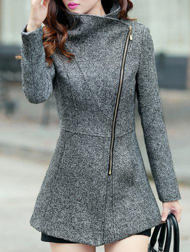 Simple Long Sleeve Turn-Down Neck Zipper Design Women's Coat - DEEP GRAY 2XL