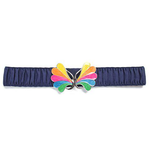 Chic Colorful Buckle and Ruffle Design Solid Color Women's Elastic Waistband - BLUE