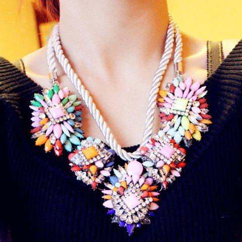 Fashionable Chic Women's Colored Rhinestone Decorated Floral Layered Link Necklace - AS THE PICTURE