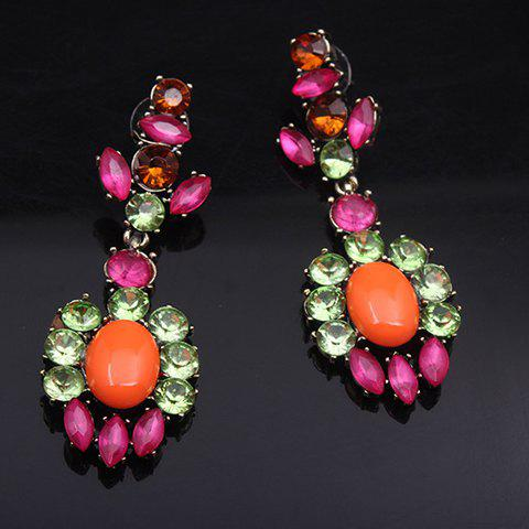Pair of Noble Geometric Gemstone Embellished Women's Earrings - ORANGE