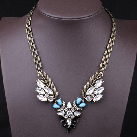 Chic Retro Women's Colored Beads Rhinestone Necklace - BLUE