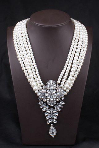 Exquisite Faux Pearl Decorated Layered Women's Necklace - AS THE PICTURE