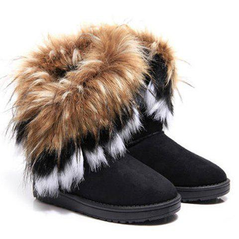 Stylish Suede and Faux Fur Design Snow Boots For Women