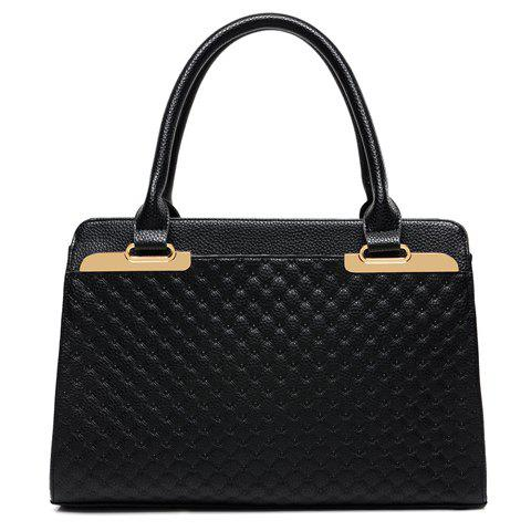 Fashion Metal and Checked Design Tote Bag For Women - BLACK