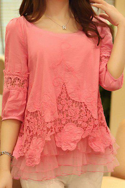 Stylish Scoop Neck 3/4 Sleeve Solid Color Spliced Women's Blouse - WATERMELON RED M