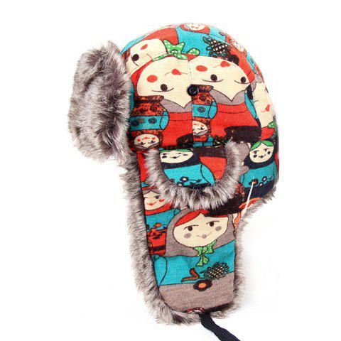 Cute Cartoon Figure Pattern Colorful Trapper Hat For Women