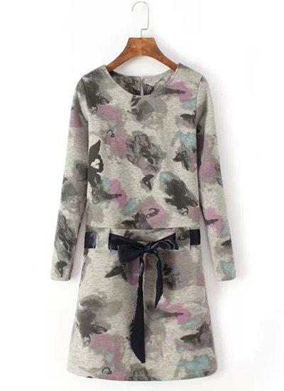 Refreshing Floral Print Round Collar Lace-Up Long Sleeve Dress For Women - COLORMIX L