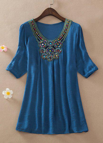 Vintage Scoop Neck 3/4 Sleeve Beaded Women's Blouse - BLUE 2XL