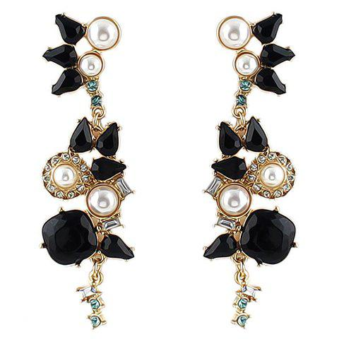 Pair of Chic Faux Pearl Decorated Pendant Women's Earrings - WHITE/BLACK