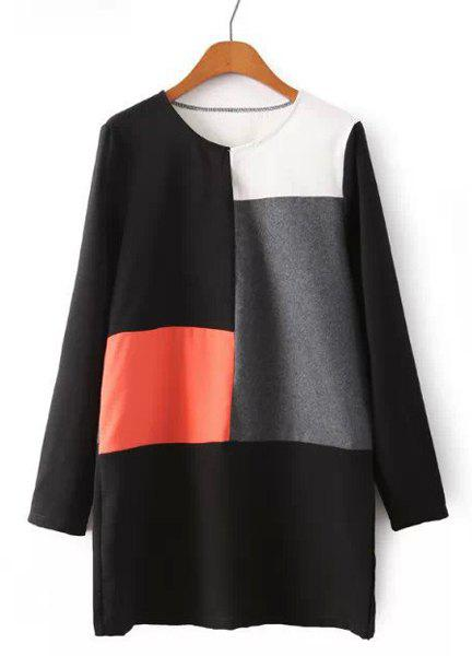 Brief Color Block Round Collar Long Sleeve Dress For Women