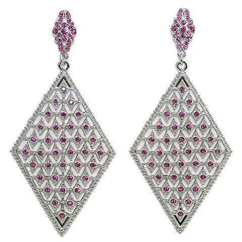 Pair of Chic Rhinestone Decorated Geometric Pendant Women's Earrings - AS THE PICTURE