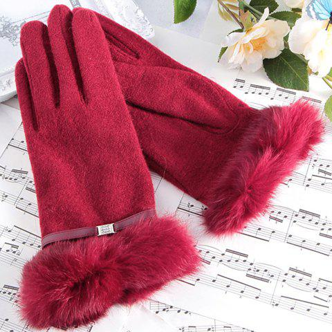 Pair of Chic Rhinestone Decorated Solid Color Gloves For Women - WINE RED